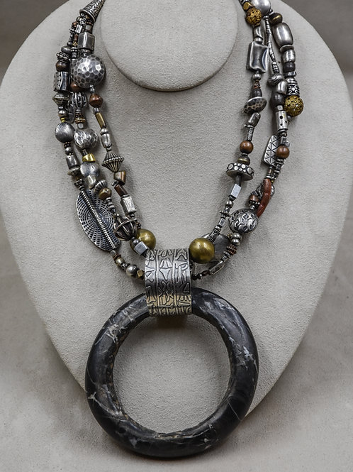 3 Strand Multi-Bead w/ Copper and Brass Necklace by Richard Lindsay