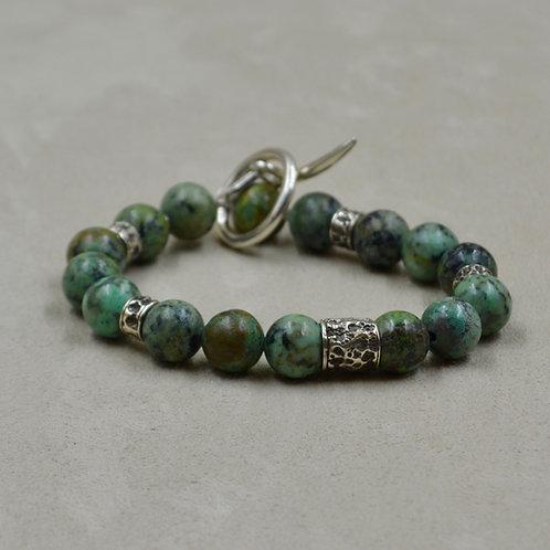 Men's Jasper & Sterling Silver Bracelet by Reba Engel