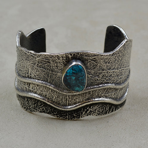 Sterling Silver Tufa Triple Wave w/ Natural Bisbee Turquoise Cuff by Erik Fender