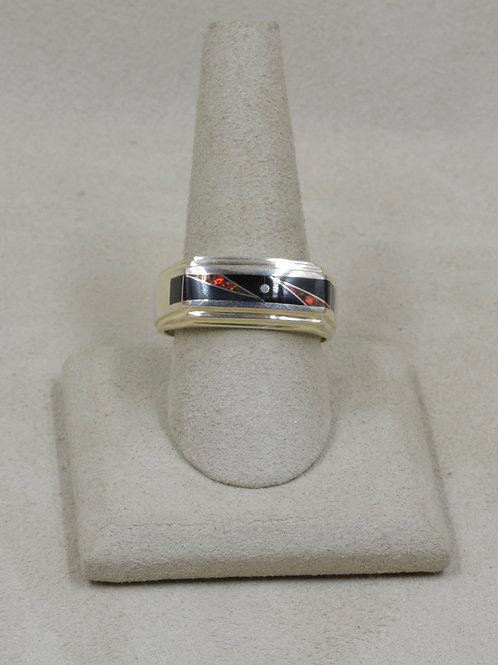Black Jade, Red Lab Opal, & Sterling Silver 12.5x Ring by GL Miller Studio