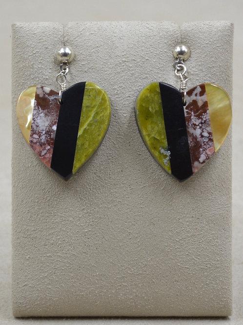 Medium Inlay Hearts Post Earrings w/ Pearl, Serpentine, Jet by Estefanita Ca'Win