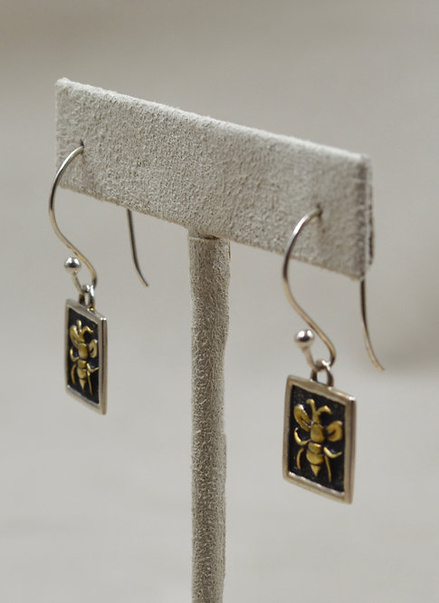 Sterling Silver Square Bee Earrings, 18k Plate by Roulette 18