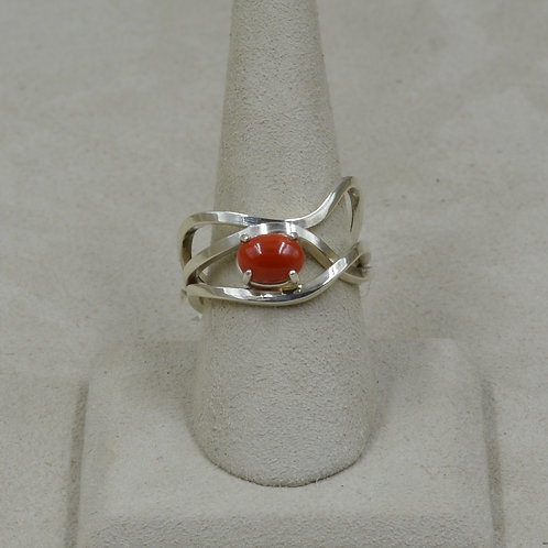 Sterling Silver Square Wire w/ Coral 9x Ring by Tim Busch