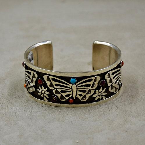 Narrow Butterfly Multi-Stoned Sterling Silver Cuff by Aaron John