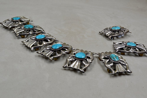 Sterling Silver & Turquoise Navajo Concho Belt