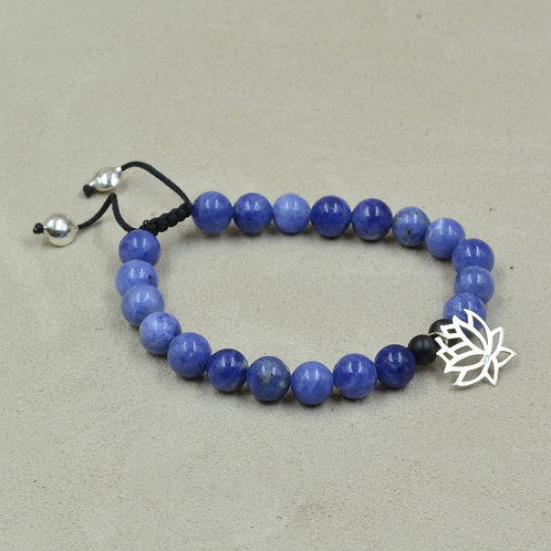 Meditation Bracelet - Sodalite, Black Onyx, Lotus Flower by True West