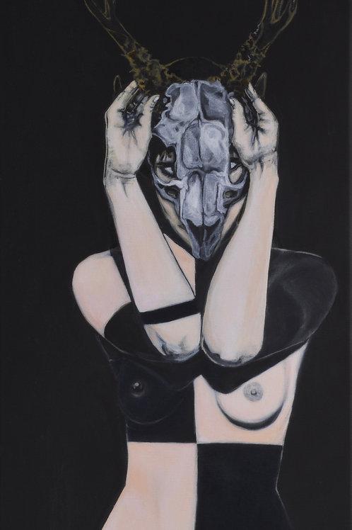 """Jakalo Femme"" - Acrylic on Canvas - 24"" X 12"" - by Carlo Martinez"