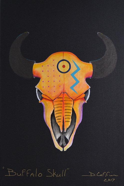 "'Buffalo Skull Series' 2017 - Acrylic on Canvas - 36"" x 24"" - by Doug Coffin"