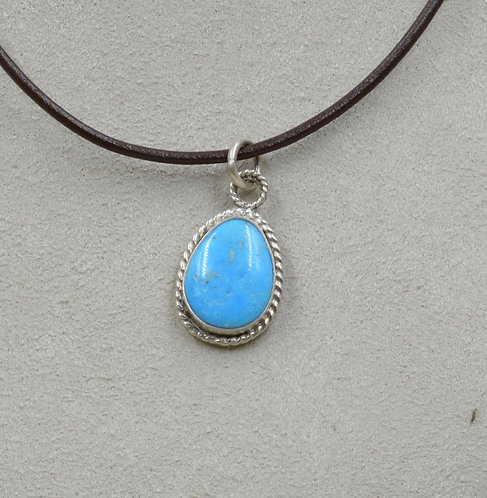 Pear Shaped Natural Kingman Turquoise & Sterling Silver Pendant by Joe Glover