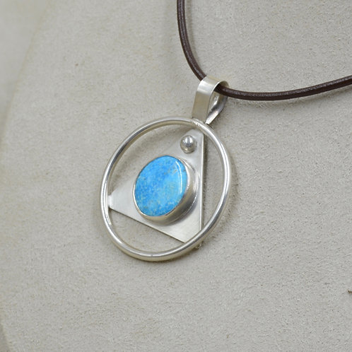 Kingman Turquoise in Sterling Silver Triangle & Circle Pendant by Joe Glover
