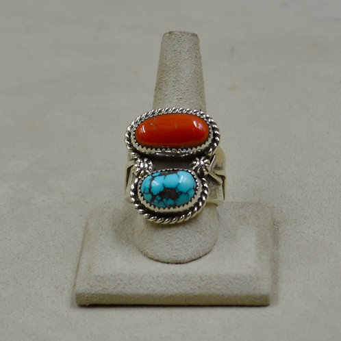 Coral & Indian Mountain Turquoise Sterling Silver 9x Ring by James Saunders