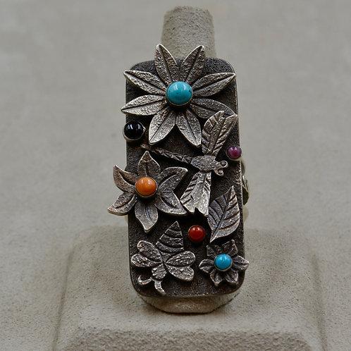 Oxidized Dragonfly & Flower Tufa Cast w/ Multi-Stones 10x by Aaron John