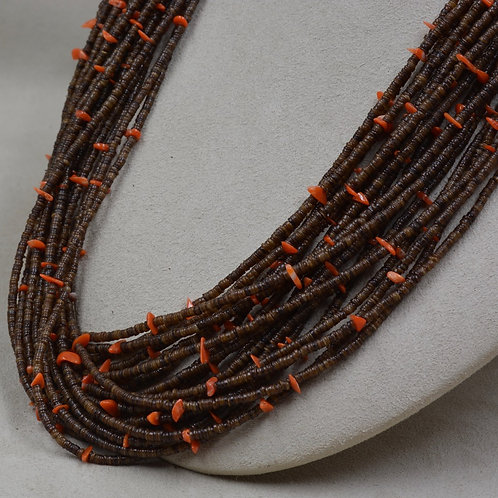 20 Strand Baby Olive Shell Heishi w/ Red Coral Necklace by Peyote Bird