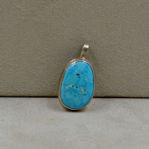 Natural Kingman Turquoise & Sterling Silver Oval Pendant by Joe Glover