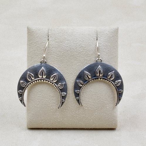 Crescent Leaves Sterling Silver Earrings by Roulette 18