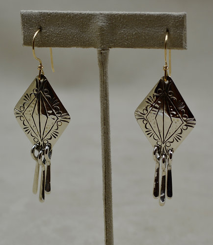 Sterling Silver Stamped Diamond Wire Earrings w/ 3 Spoons by Cheryl Arviso