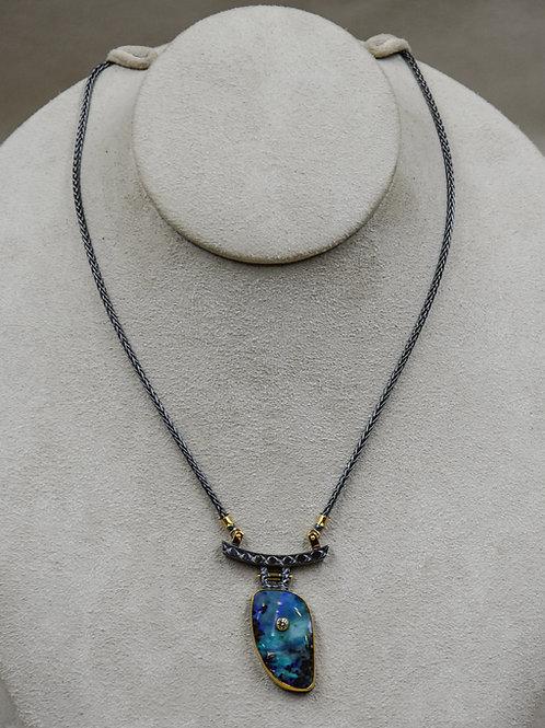Boulder Opal, Yellow Diamond 22k, Necklace by Dave M Romero
