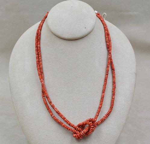 2 Strand Hi Grade Dark Orange Spiny Oyster Necklace by Maggie Moser