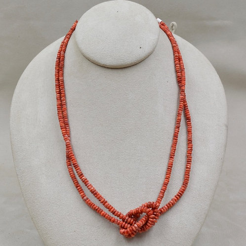 2 Strand Hi Grade Dark Orange Spiny Oyster Necklace by Maggie Moser