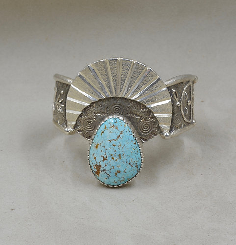 Natural #8 Turquoise, Yei & Spirals, Tufa Cast Cuff by Fritz Casuse