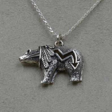 Medium Medicine Bear on Sterling Silver Chain by Lente