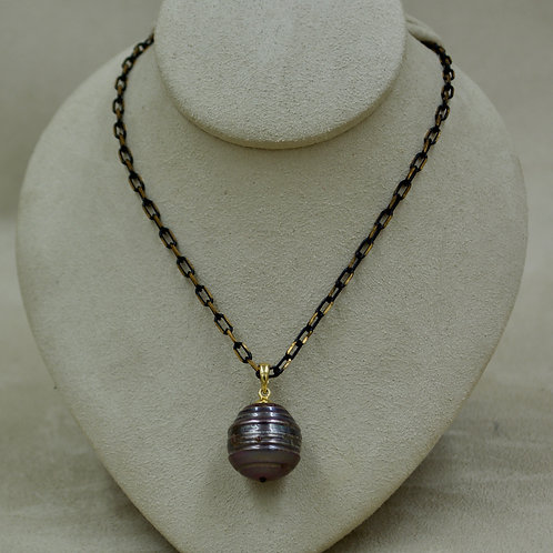 Cultured Freshwater Peacock Pearl Drop on Copper Chain Necklace by US Pearls