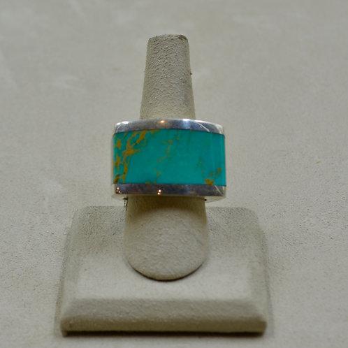 Green Kingman Turquoise Wraparound Sterling Silver 11.5x Ring by JL McKinney