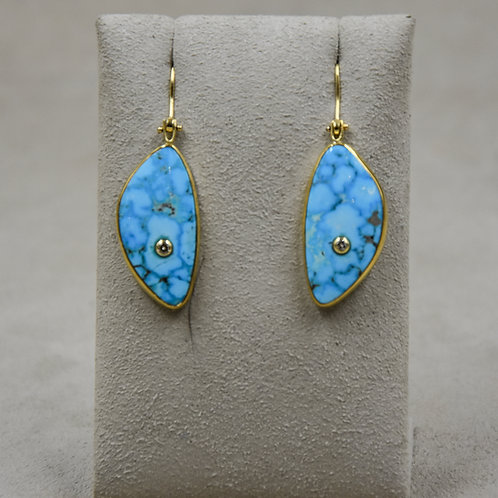 22k Gold, Kingman Turquoise, Diamond Wire Earrings by Dave M Romero