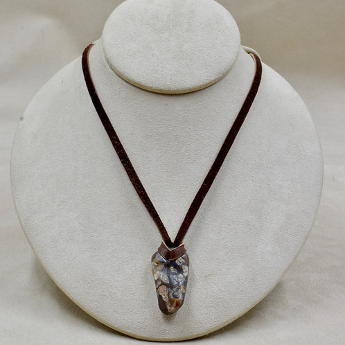 """Fire Agate on Adj. 26"""" Leather Necklace by Joe Glover"""
