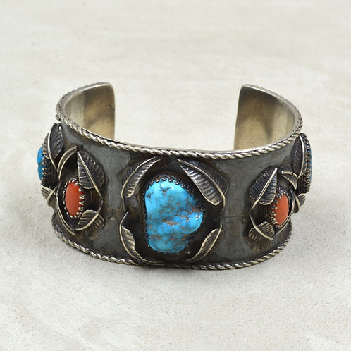 Vintage Coral & Turquoise Leaves Large Cuff