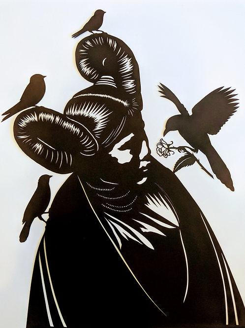 "Hopi Maiden with Birds, 29"" x 23"", by Valerie Rangel"