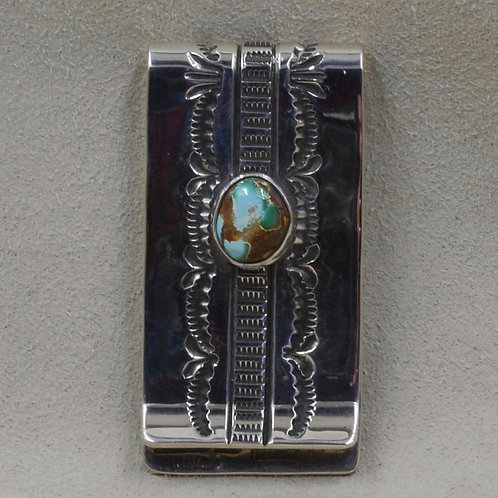 Sterling Silver and Royston Turquoise Money Clip by Leonard Nez