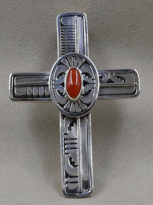 Large Sterling Silver Medium Cross Pendant by Leonard Nez