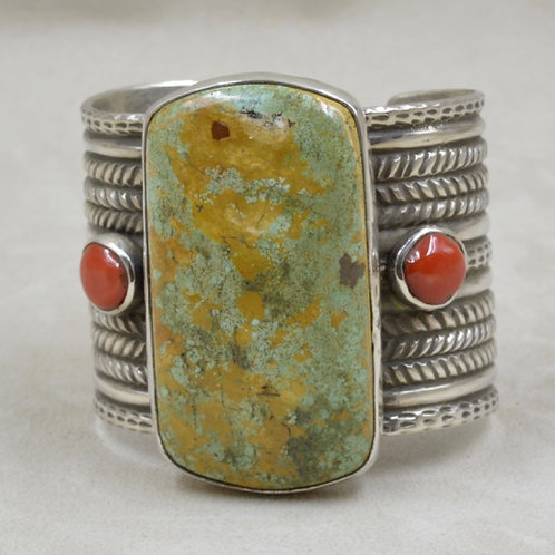 Rare Lg. Cerillos 175Cts/7.7oz. Troy Turquoise & Coral Cuff by Jerry Faires