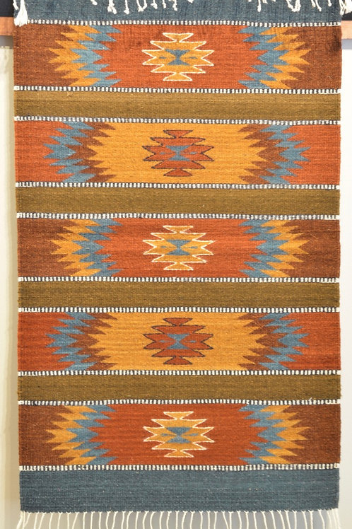 """Geometric Paneled Brown and Blue Zapotec Weaving - 24"""" X 36"""""""