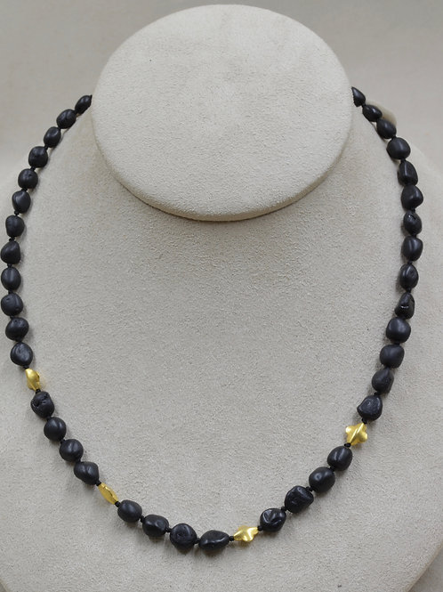 Black Tourmaline, 14k/22k Gold Necklace by Joan Kallas