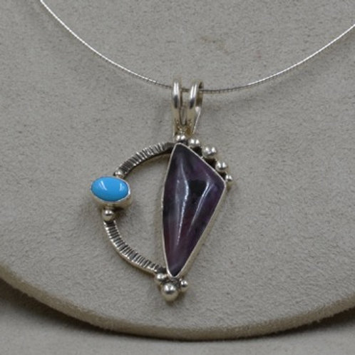 Sterling Silver, Sleeping Beauty Turqouise & Sugilite Necklace by Cheryl Arviso