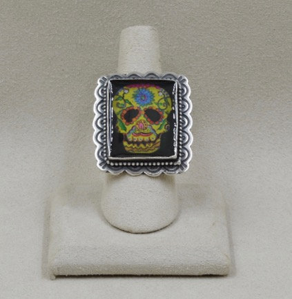 Skull Leather Adjustable Ring by Shoofly 505