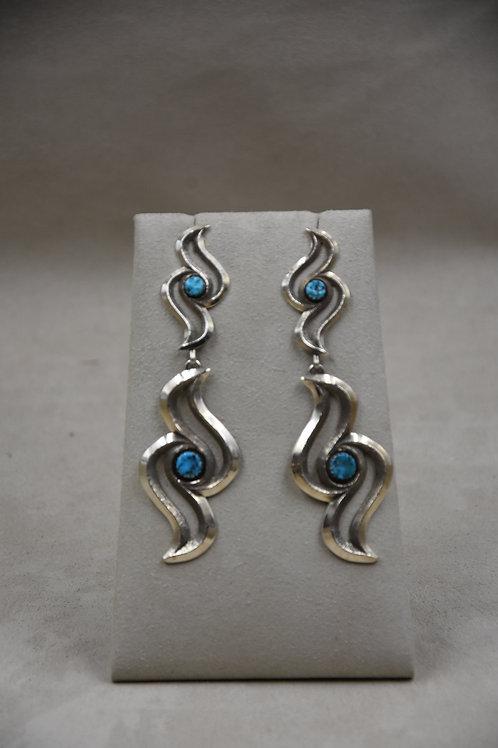 Double Raven Kingman Turquoise Earrings by Gregory Segura