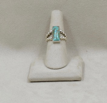 Rectangular Small Turquoise Ring 5.5X by JL McKinney