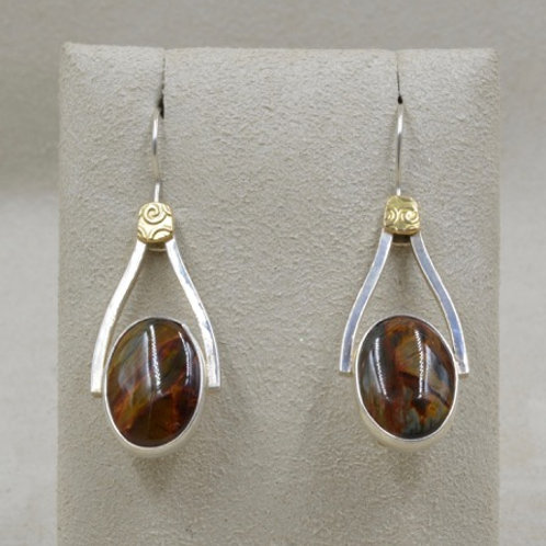 18k Gold, Pietersite, and Sterling Silver Earrings by Michele McMillan
