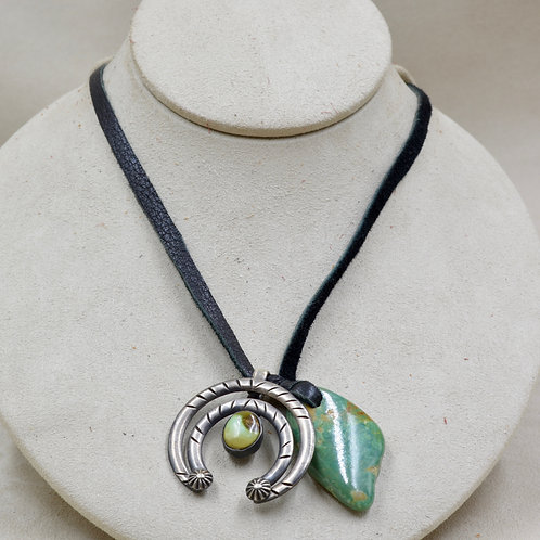 S. Silver Ingot Necklace w/ Royston Turquoise Naja by Red Rabbit Trading Co.