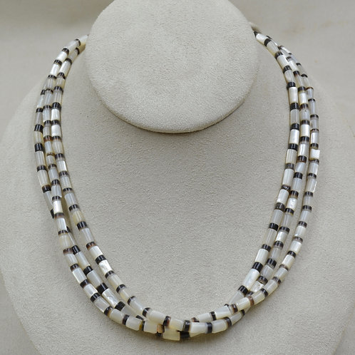3 Strand Mother of Pearl Beads w/ Penn Shell Spacers by Joe Glover