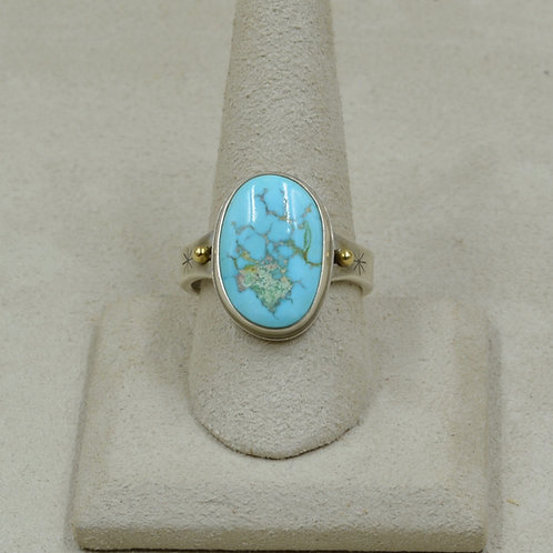 18k Gold and Natural American Turquoise and S. Silver 11.5x Ring by Joe Glover