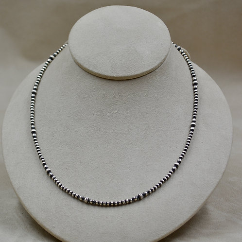 """Navajo Pearls Sterling Silver Tiny Oxidized Multi Beads 18"""" Necklace"""