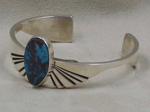 Sterling Silver and Morenci Turquoise Cuff by Leonard Nez