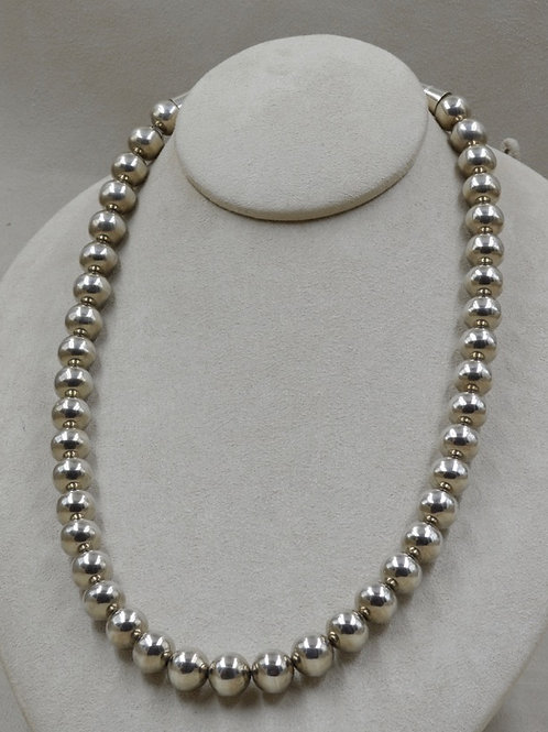 Sterling Silver Bright Handmade 12mm Beads Necklace by Lapidary Mastery