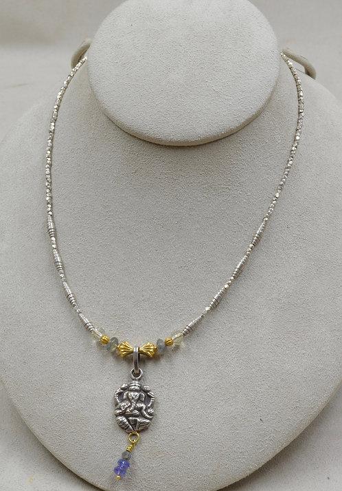 Labradorite, Citrine, Tanzanite, 22k Gold, SS Ganesh Necklace by Joan Kallas