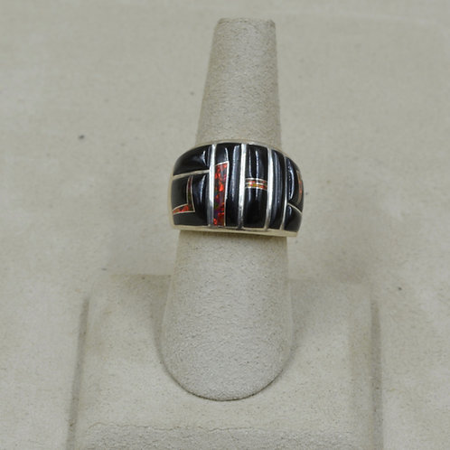 Red Lab Opal, Black Jade & Sterling Silver 7.5x Ring by GL Miller
