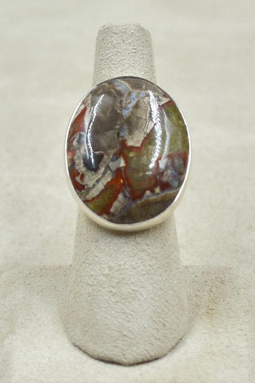 Sterling Silver Mushroom Rhyolite Large Oval 6x Ring by Sanchi & Filia